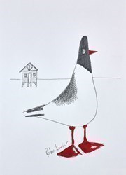 Beach Hut Bird Sketch II by Rebecca Lardner -  sized 8x10 inches. Available from Whitewall Galleries